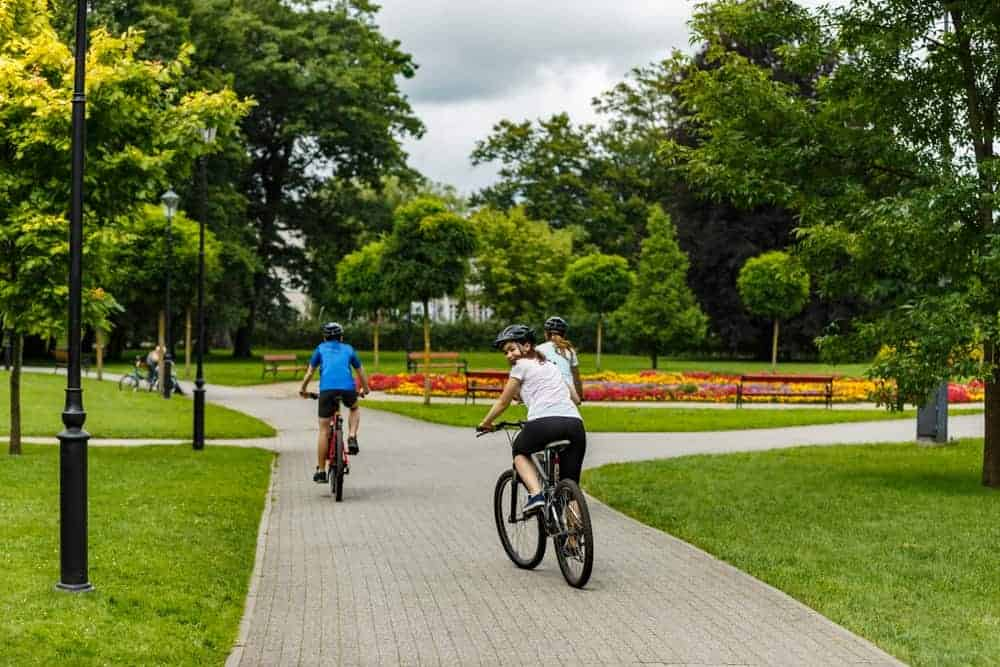 A group of people biking on a lovely park with tall trees and lush lawns of green grass.