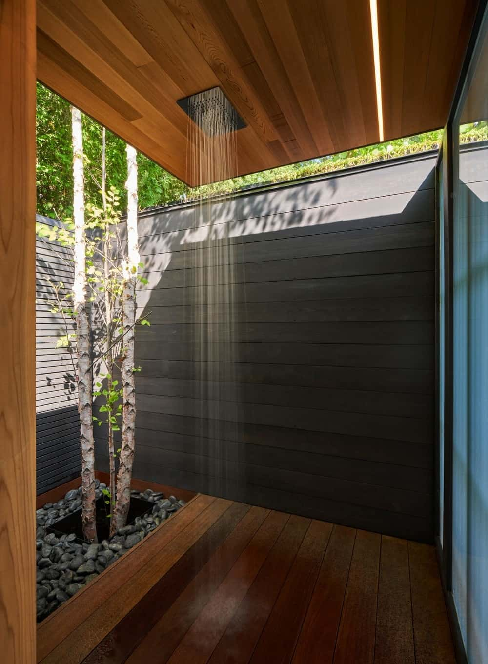 Shower area in the Forest Hill Garden & Pavilion designed by Amantea Architects.