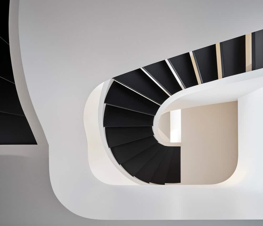 Top view of the spiral staircase in the Forest Hill House designed by Reigo & Bauer.