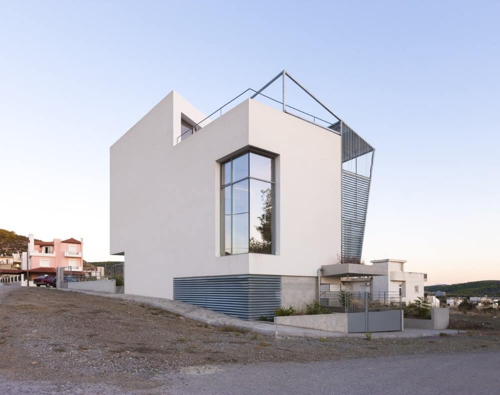 A view of the Hidden Cross residence from outside, showcasing its modern architecture design.