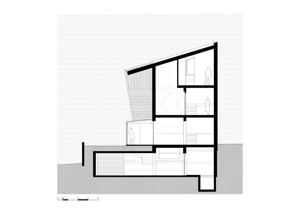 House layout of the Hidden Cross Residence designed by Ntovros Vasileios Architects.