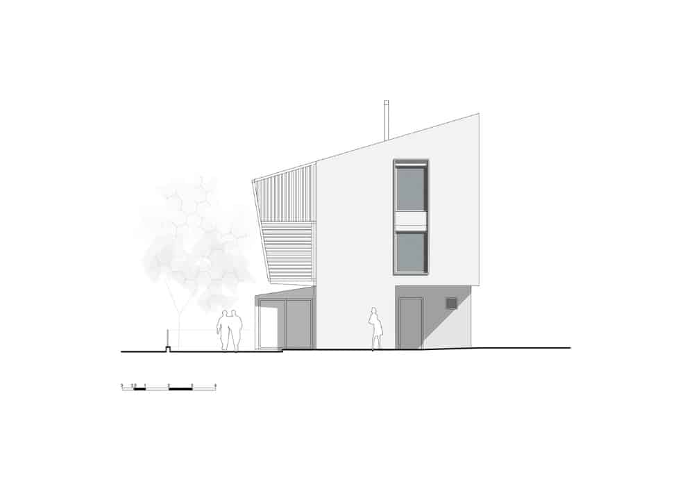 Perspective view of the Hidden Cross Residence designed by Ntovros Vasileios Architects.