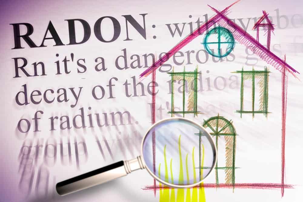 Illustration of a high-level radon gas level.