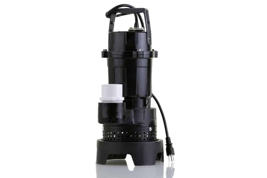 A slick black new sump pump on a white background.