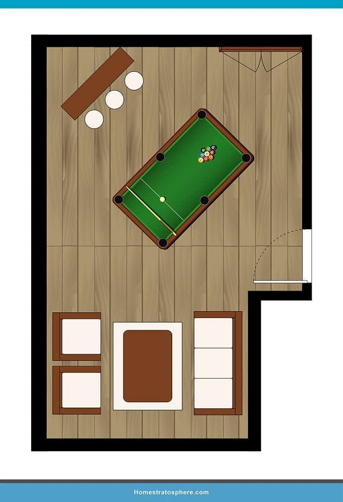 Man Cave Layout #05 - A Room for All Men