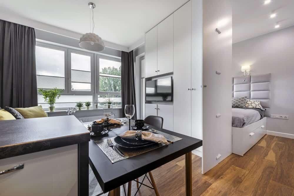 Modern interior design of a studio apartment.