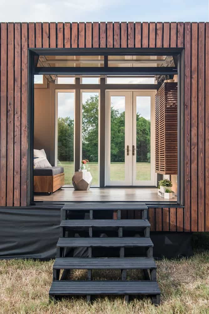 Entryway in the Orchid Tiny House designed by New Frontier Tiny Homes.
