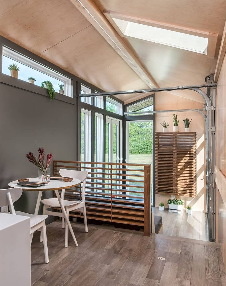 Dining area in the Orchid Tiny House designed by New Frontier Tiny Homes.