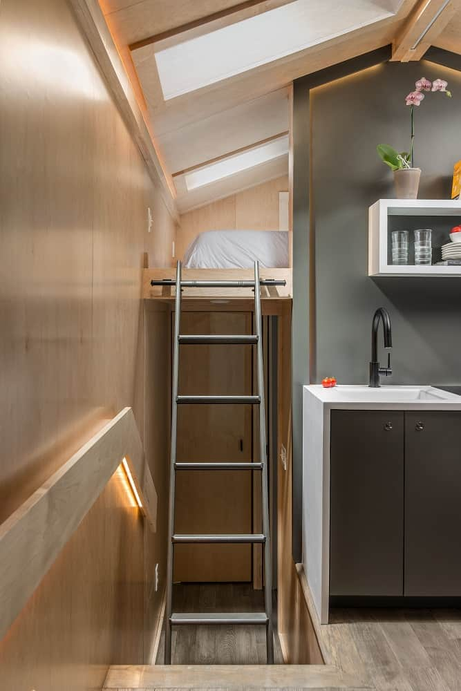 Storage room in the Orchid Tiny House designed by New Frontier Tiny Homes.