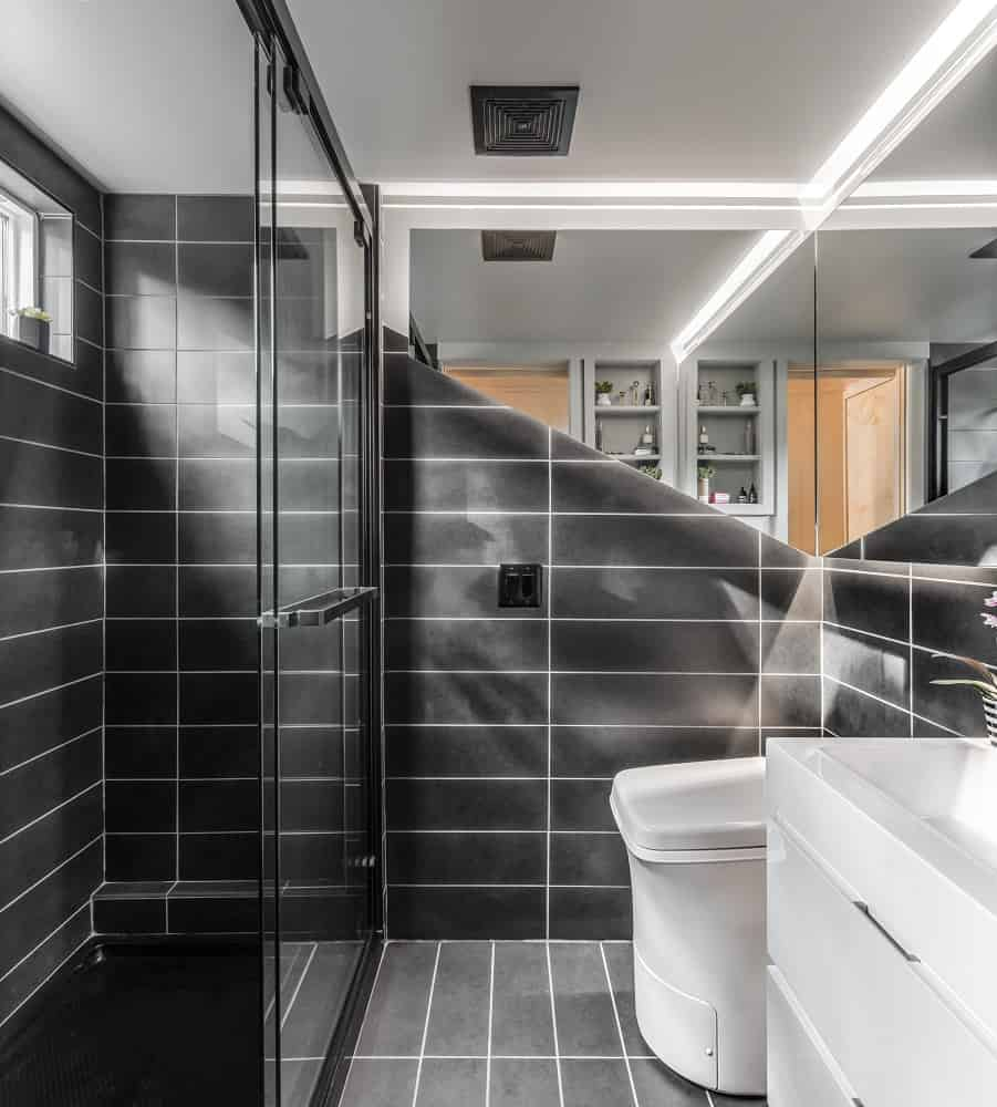 Bathroom in the Orchid Tiny House designed by New Frontier Tiny Homes.