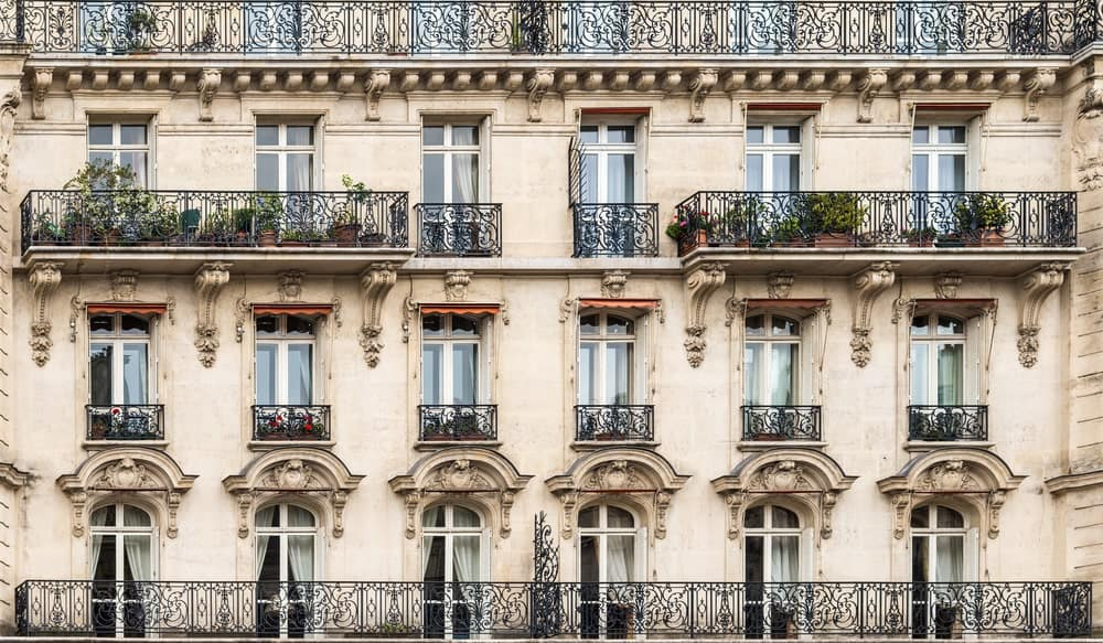 Exterior facade of Parisian buildings.