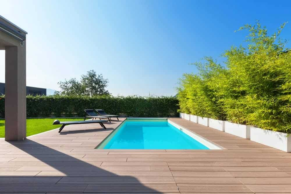 Lap pool on a backyard with wood decking.