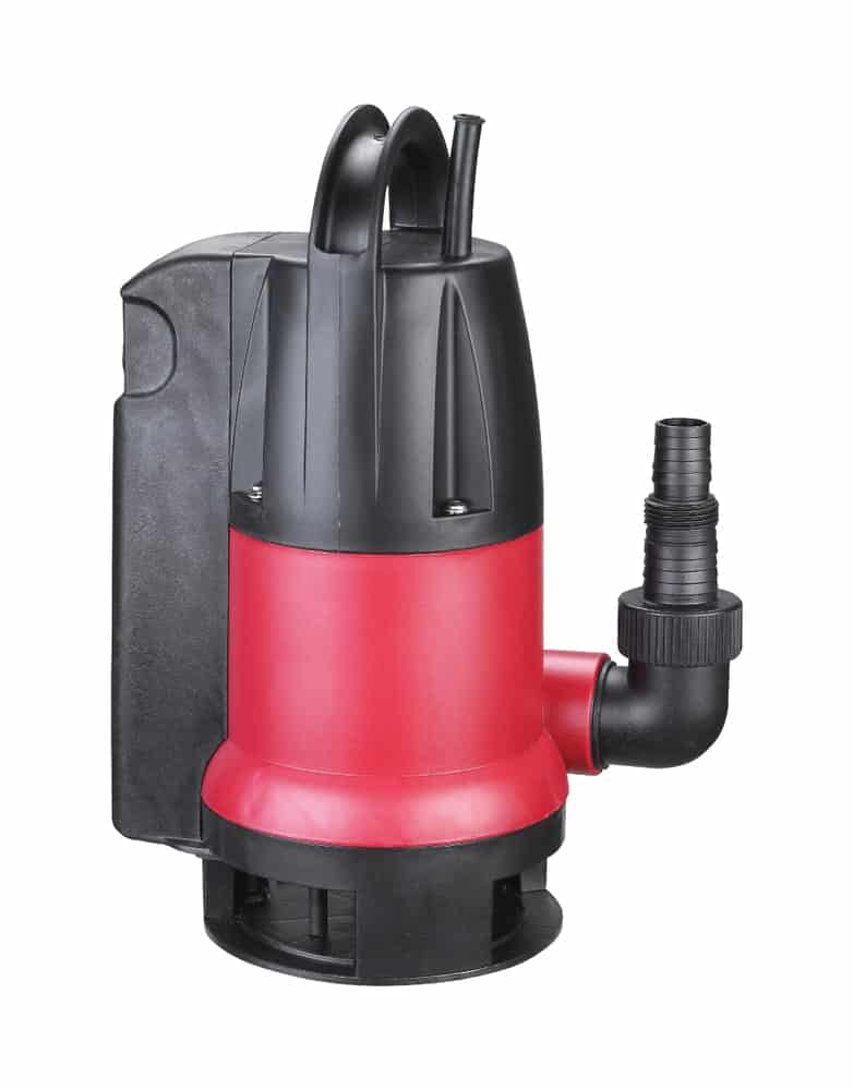 Red plastic drainage pump pumping water with automatic built-in shut-off float.