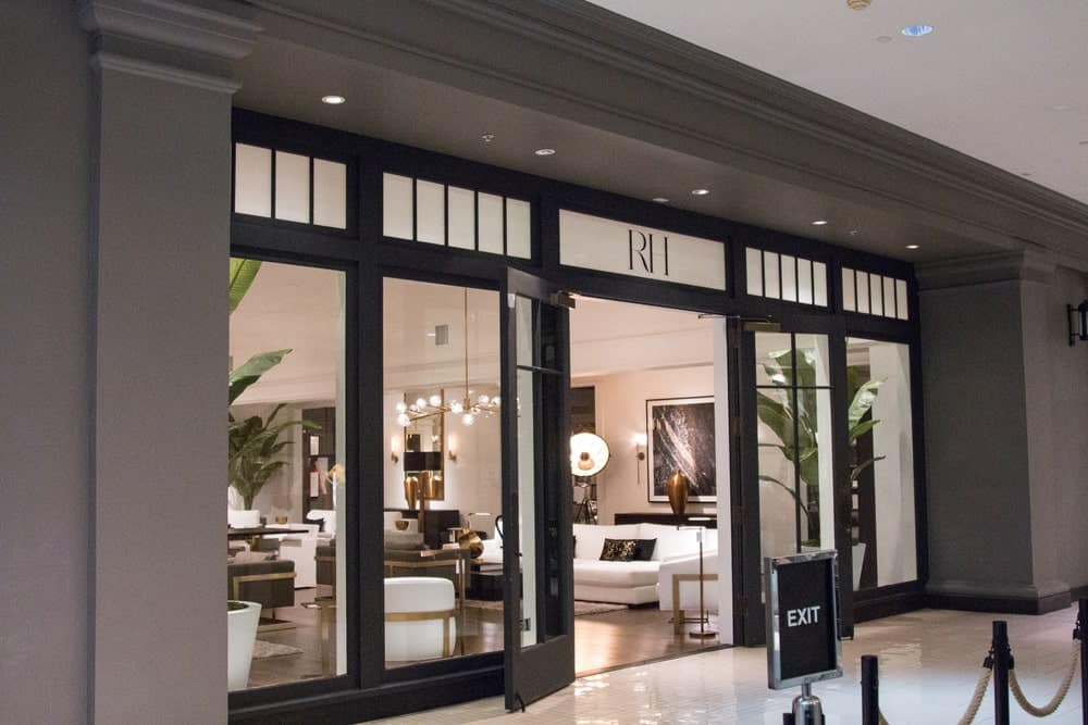 Common areas hall and Restoration Hardware front store entrance in Aventura Mall of South Florida.