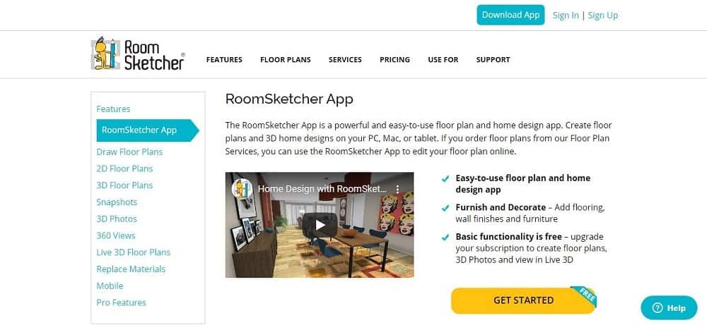 Screenshot of the RoomSketcher Software Homepage.