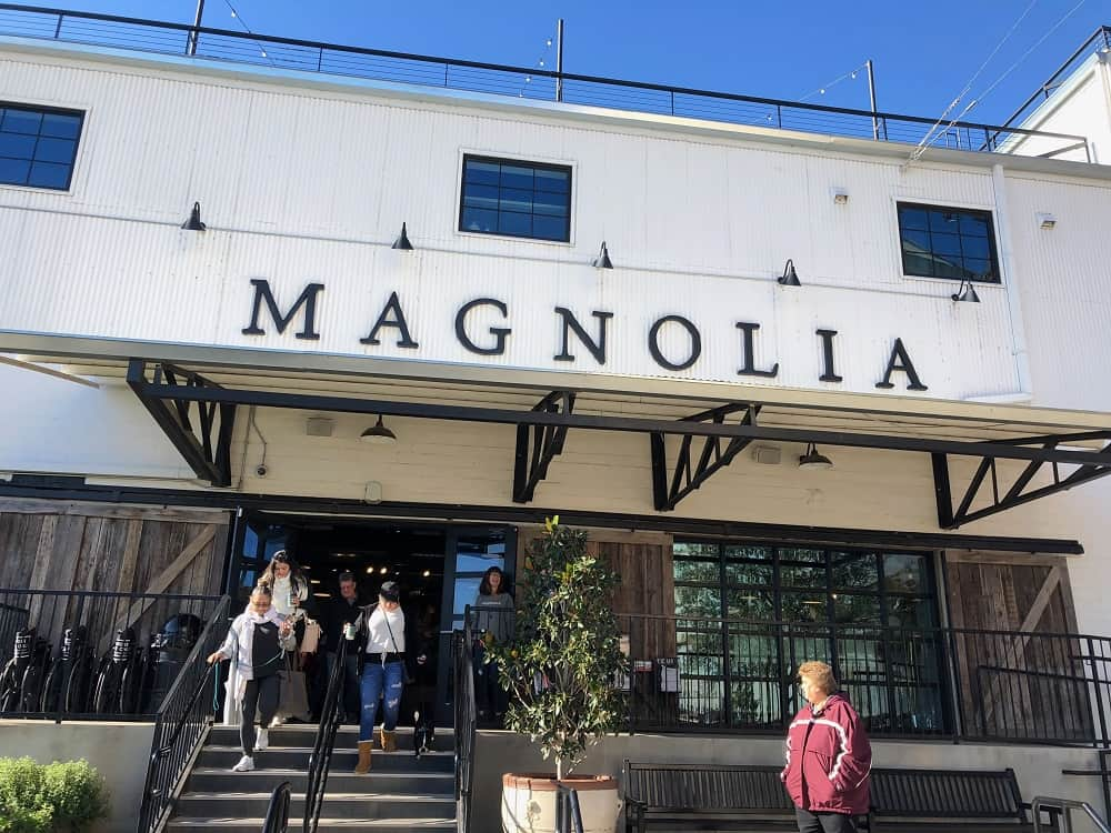 The main entryway of the Magnolia Market and Silos with its distinct architectural style.