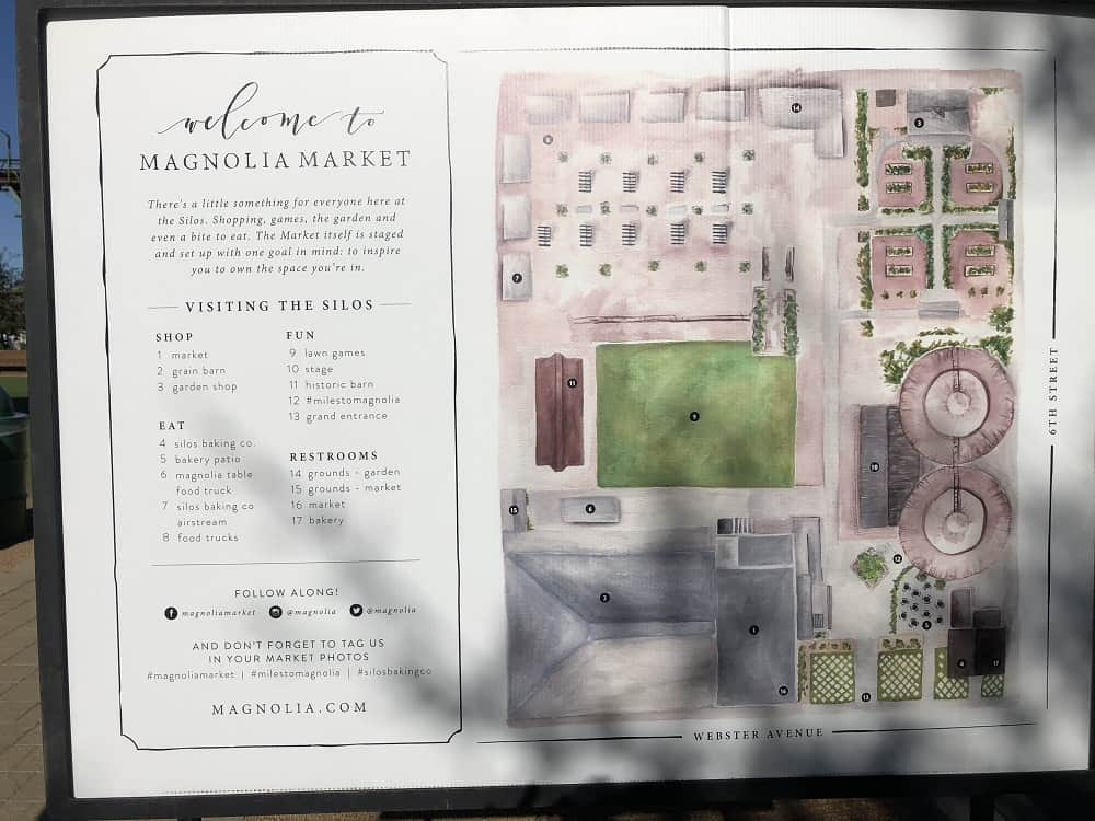A detailed map of the ever-expanding Magnolia Market area with labels on key locations and landmarks.
