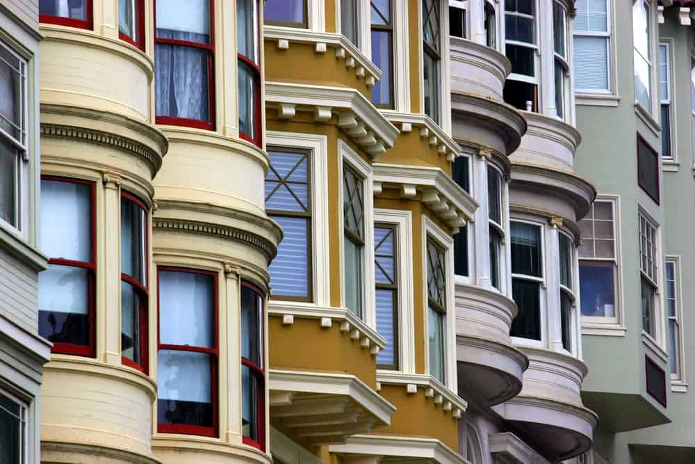 Colorful row houses in San Francisco.