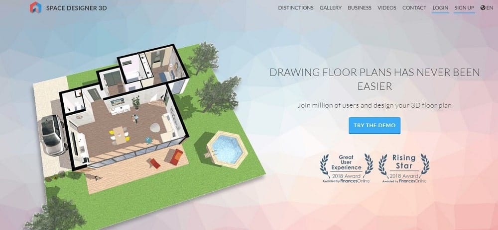 Screenshot of the Space Designer 3D Software homepage.