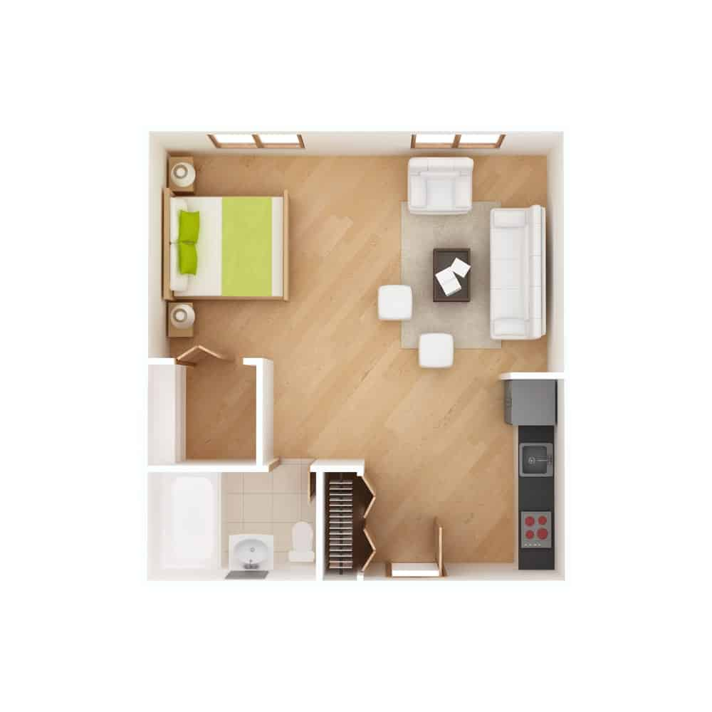 Studio apartment floor plan in top view.