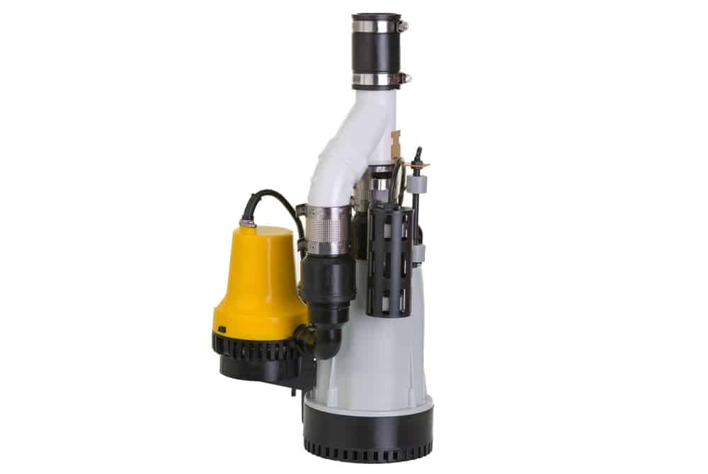 A new sump pump attached with a yellow emergency.
