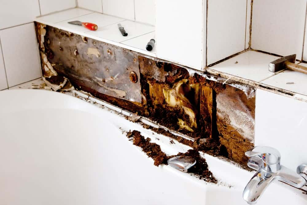Water damage in a bathroom.