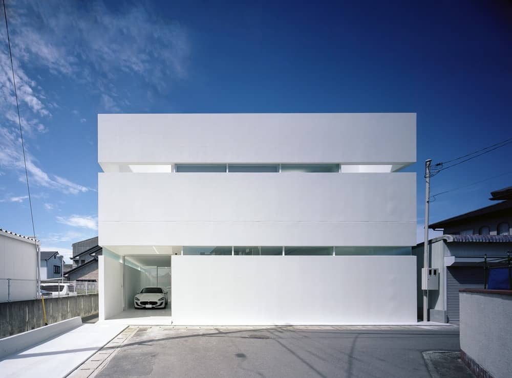 Front exterior of the House in Takamatsu designed by Fujiwaramuro Architects.