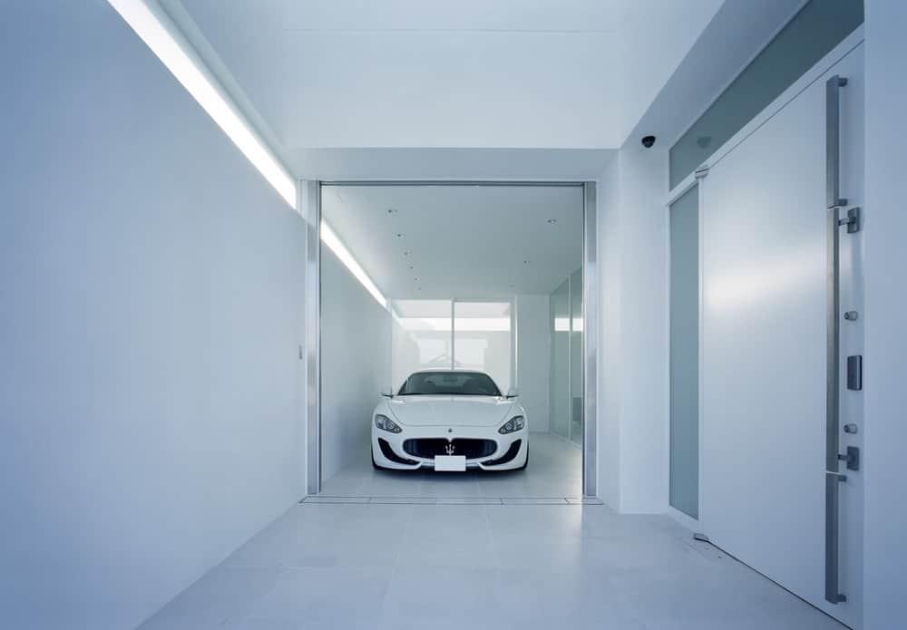Garage in the House in Takamatsu designed by Fujiwaramuro Architects.