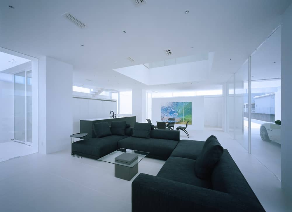 Living room in the House in Takamatsu designed by Fujiwaramuro Architects.