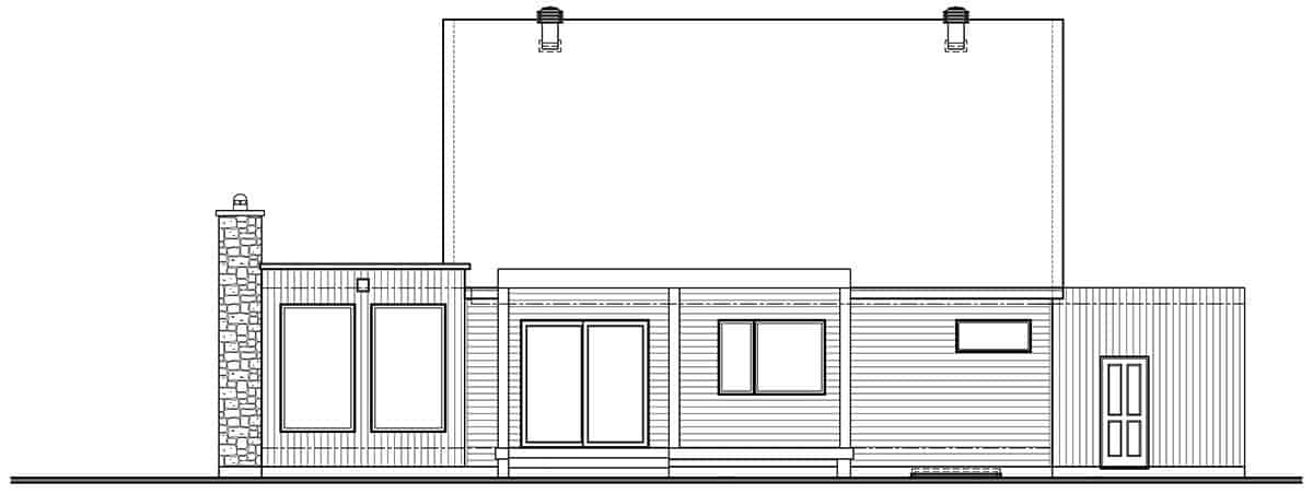 Plan of the rear side of the Scandinavian house. Source: TheHouseDesigners.com