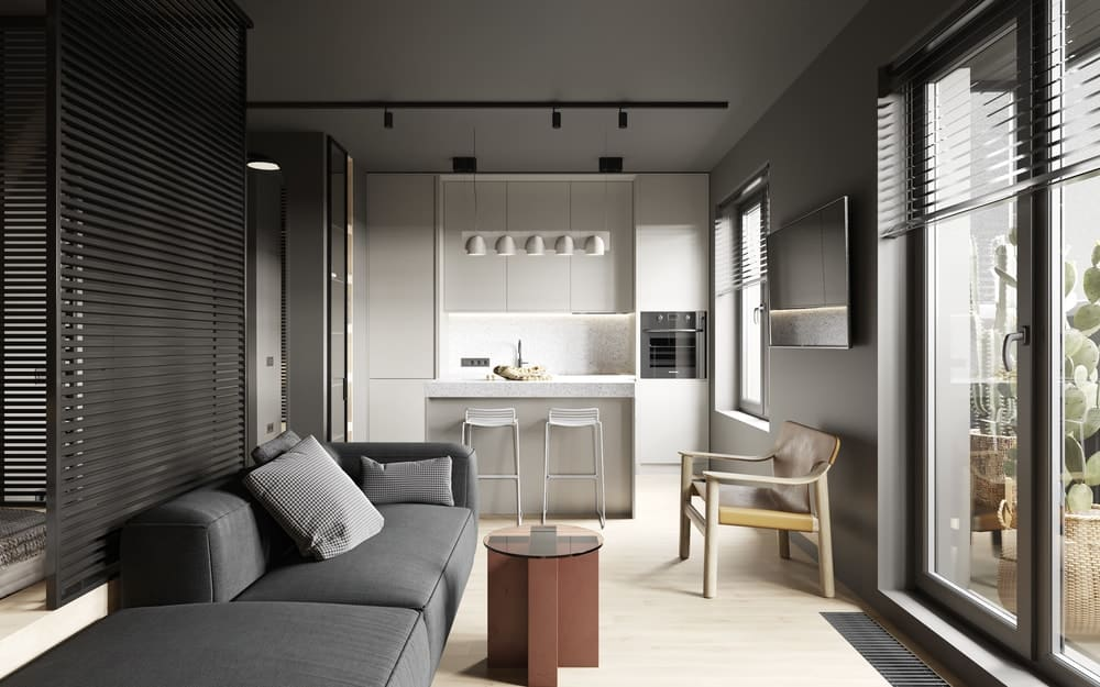 Living space and kitchen in the Goose designed by Cartelle Design.