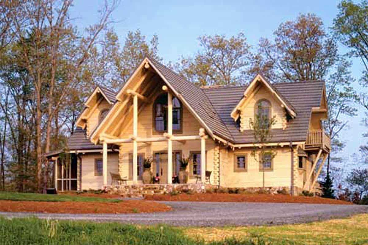 2-Story Log Home with 3 Bedrooms and Cathedral Beam Ceiling