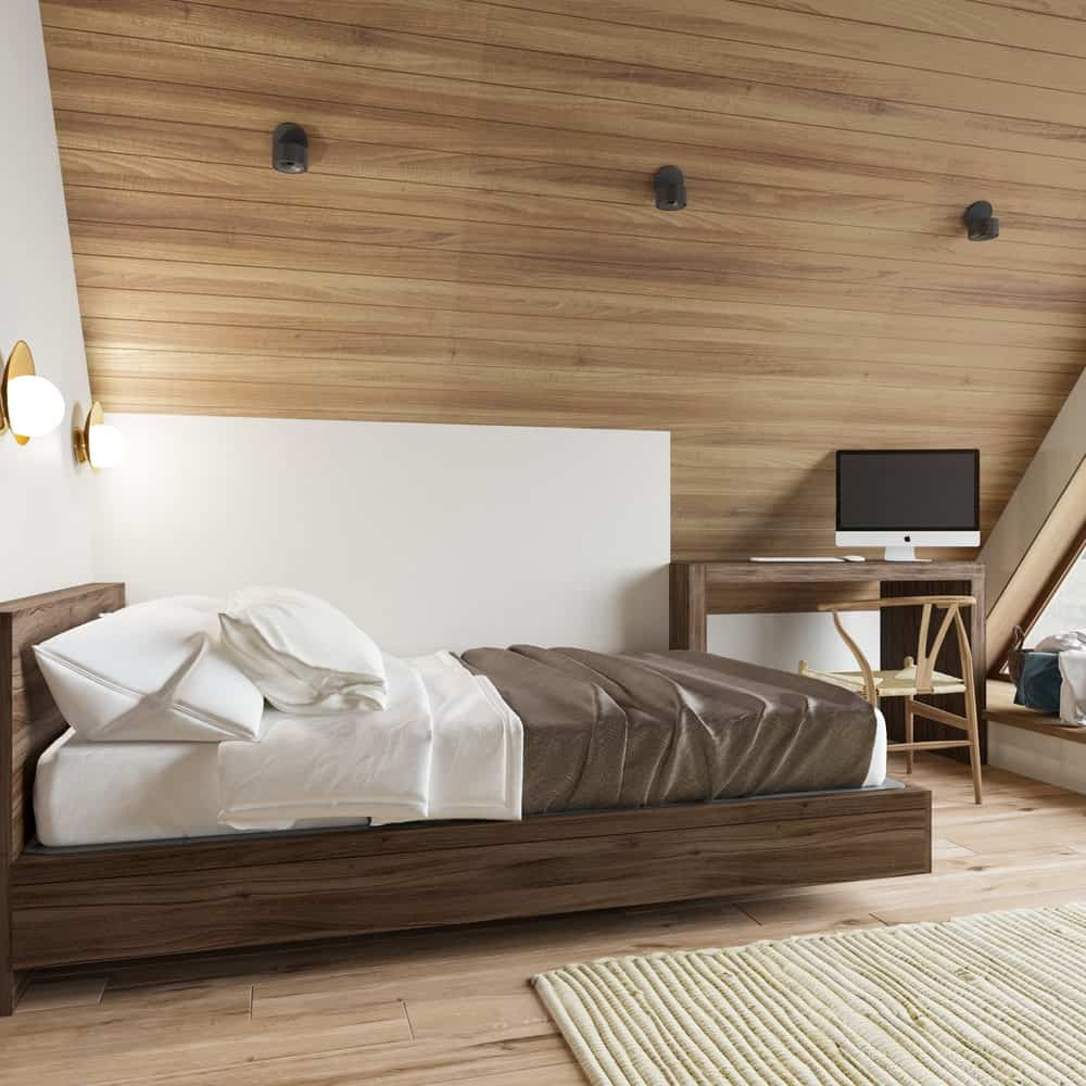 Bedroom in the House CZ Downstairs designed by Ruda Studio.