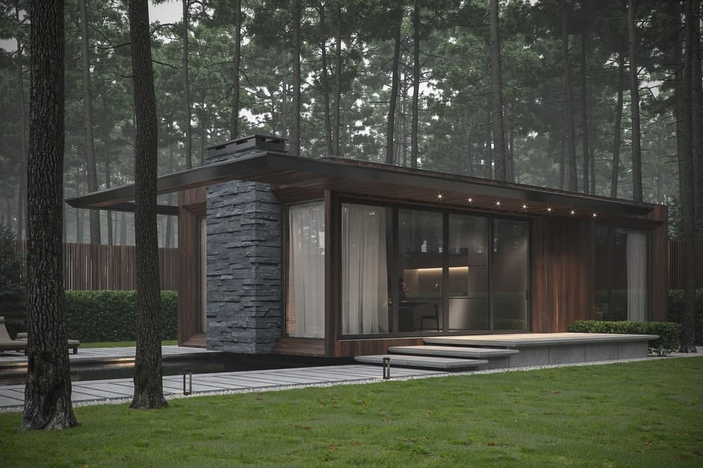 Side exterior of the Forest House designed by Bezmirno.