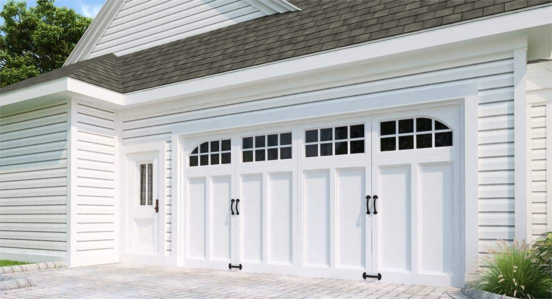 A pair of double white doors to the two-car garage. Source: TheHouseDesigners.com