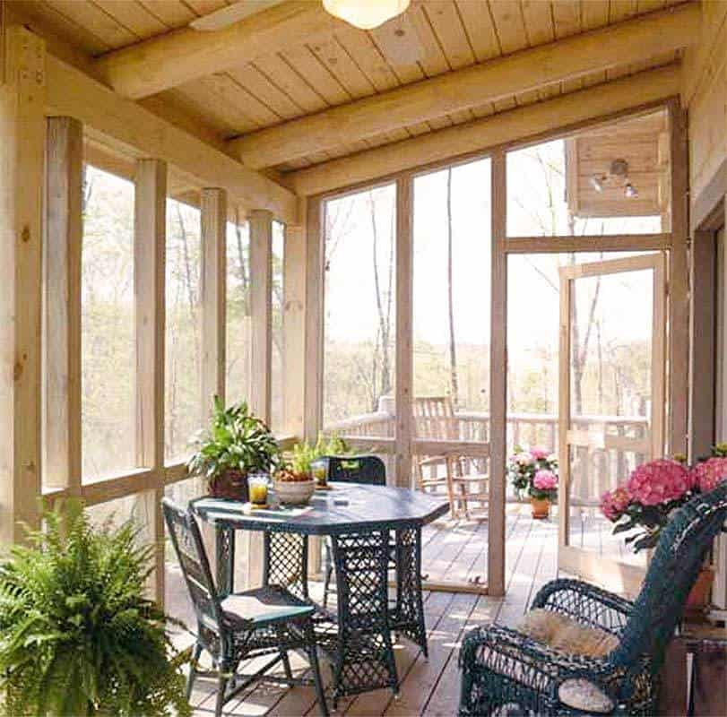 Covered screened deck for outdoor entertainment.