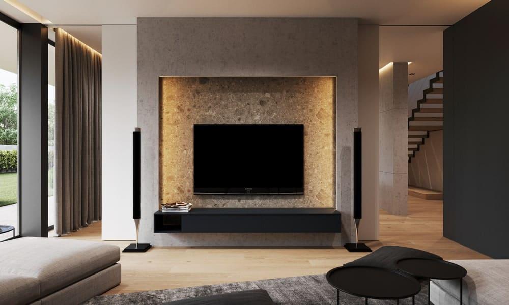 Media room in the Minimalist Home Interior designed by Johny Mrazko and Studioe.