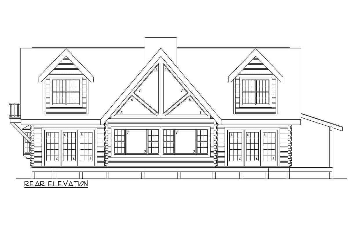 Rear Elevation drawing of the 2-story log house.