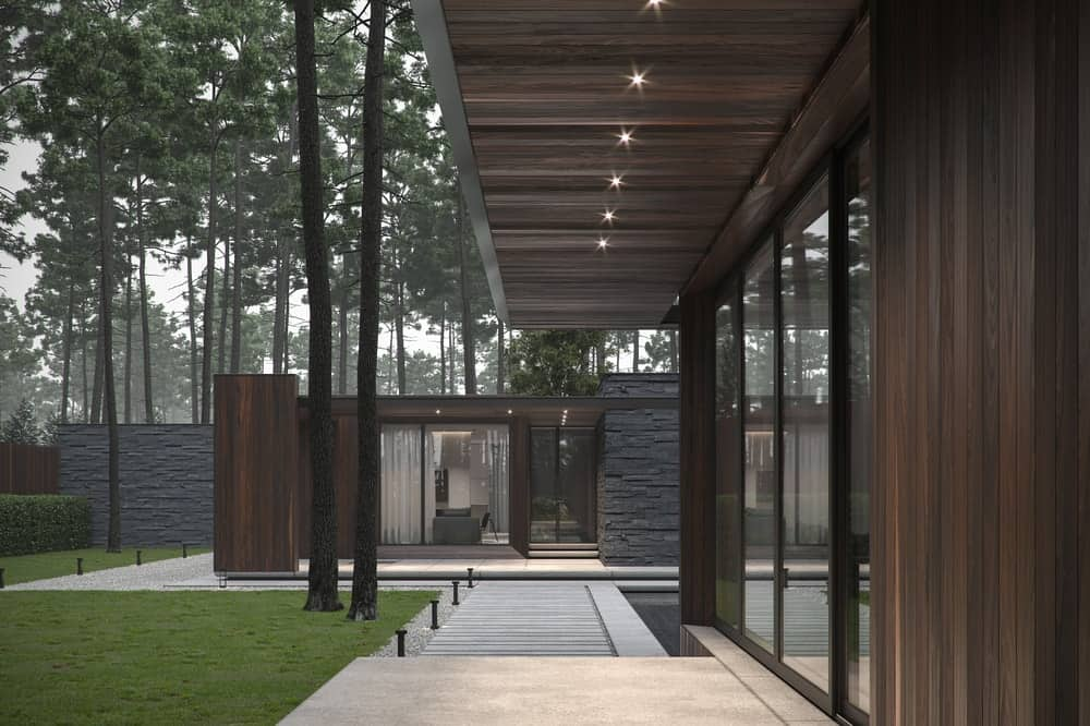 Pathway leading to the other building in the Forest House designed by Bezmirno.