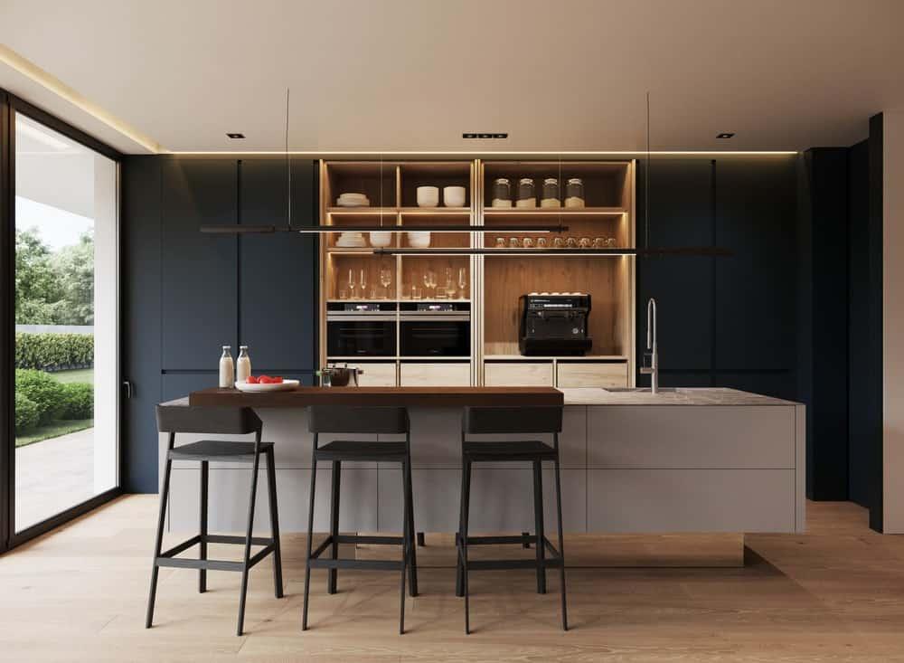 Open kitchen in the Minimalist Home Interior designed by Johny Mrazko and Studioe.