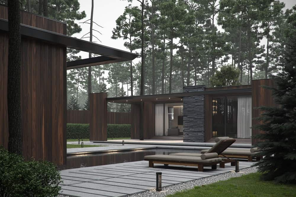 Outdoor pool of the Forest House designed by Bezmirno.