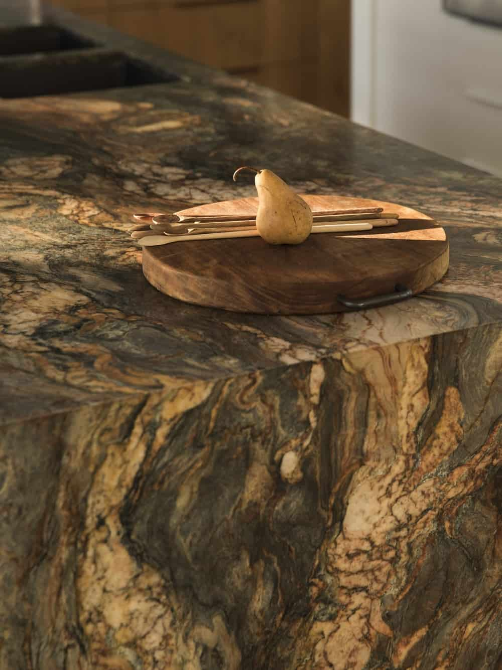 Close-up shot of the marble counter in the Herne Bay Hideaway designed by Lloyd Hartley Architects.