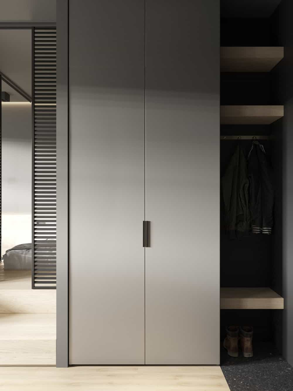 Full height wardrobe in the Goose designed by Cartelle Design.