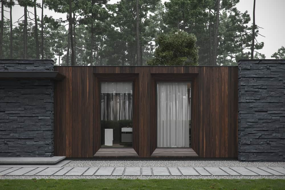 Exterior and stepping stones in the Forest House designed by Bezmirno.