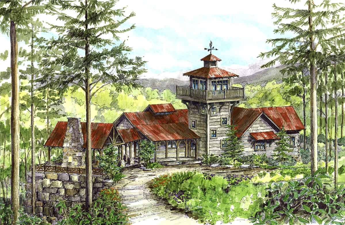 Sketch of the single-story mountain home with lookout tower.