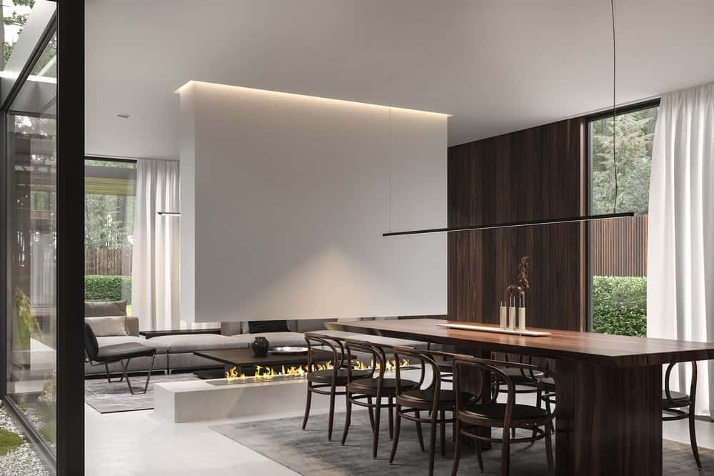 Dining area in the Forest House designed by Bezmirno.