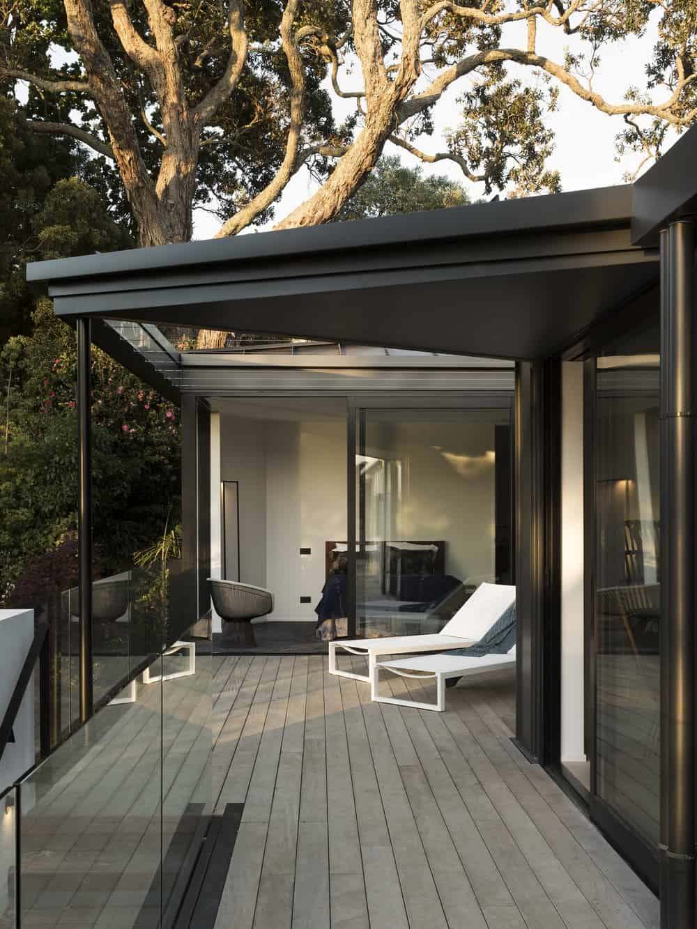 Patio in the Herne Bay Hideaway designed by Lloyd Hartley Architects.