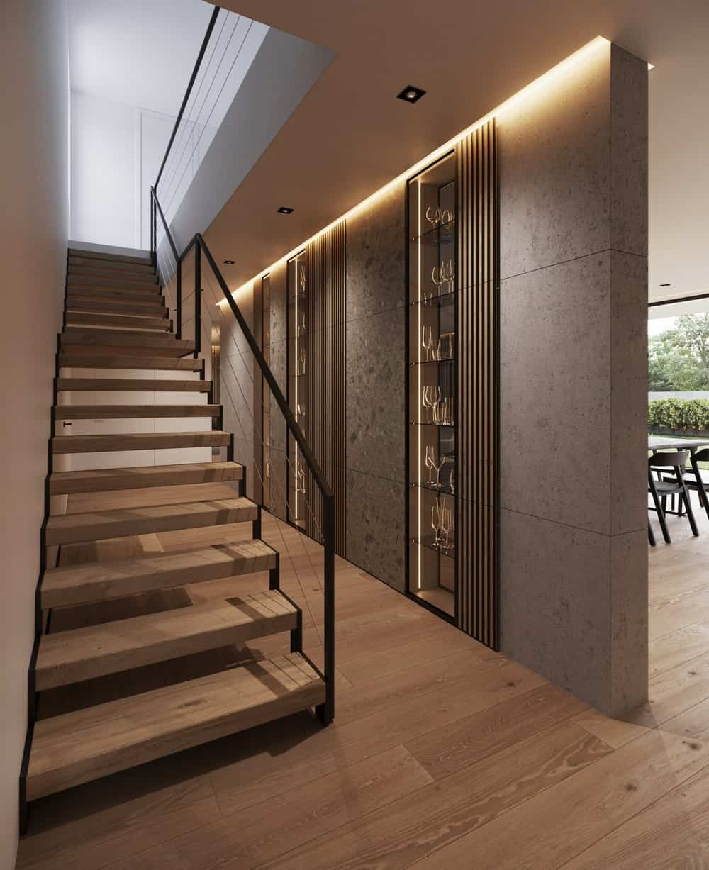 Modern staircase in the Minimalist Home Interior designed by Johny Mrazko and Studioe.