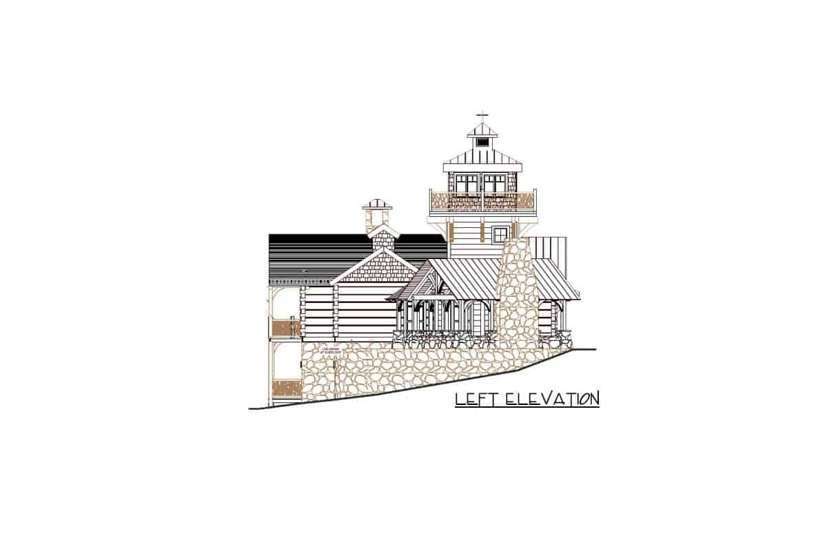 Left elevation sketch of the single-story mountain home with lookout tower.