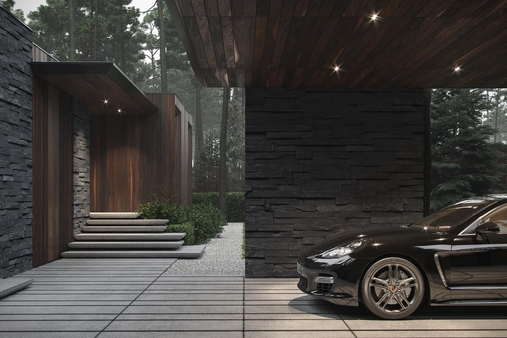 Garage of the Forest House designed by Bezmirno.